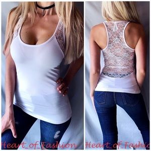 White Scoop Neck Sheer Lace Back Racerback Tank